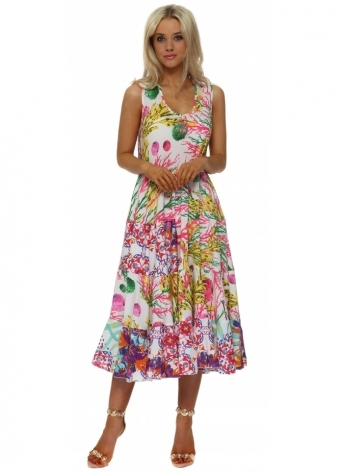 Multicolour Sleeveless Summer Swing Dress