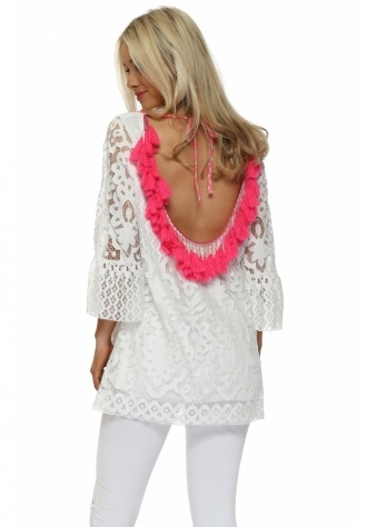 Scoop Back Pink Tassle White Lace Tunic Top