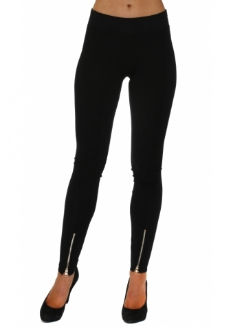 Zippee Detail Black Jersey Leggings