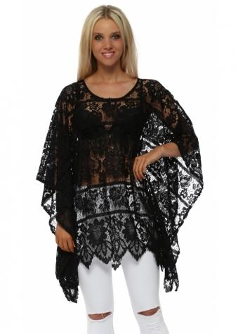 Black Floral Sheer Crochet Kaftan
