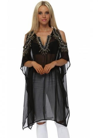 Beaded Cold Shoulder Black Kaftan