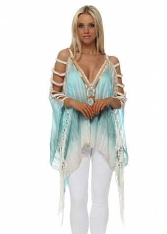 Turquoise Beaded Ladder Sleeve Kaftan Top