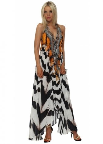 Exotic Zebra Print Halter Neck Maxi Dress