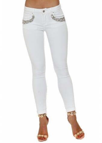 White Jewelled Pearl Pocket Stretch Fit Jeans