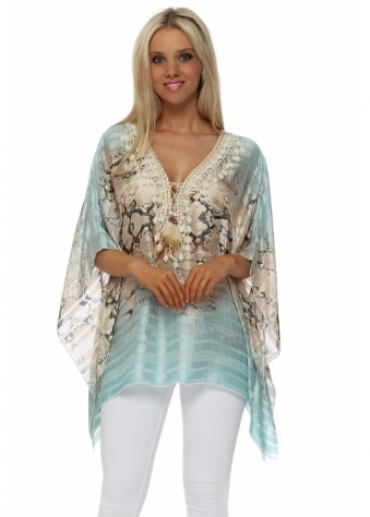 Aqua Snake Print Crochet Feather Tie Top