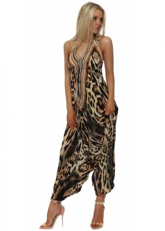 Exotic Amber Leopard Print Halter Neck Jumpsuit