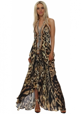Exotic Amber Leopard Print Halter Neck Maxi Dress