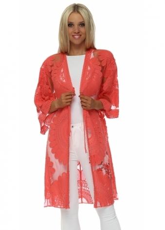 Coral Cotton Embroidered Kimono