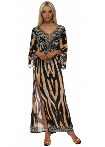 Exotic Tiger Print Maxi Kaftan Dress