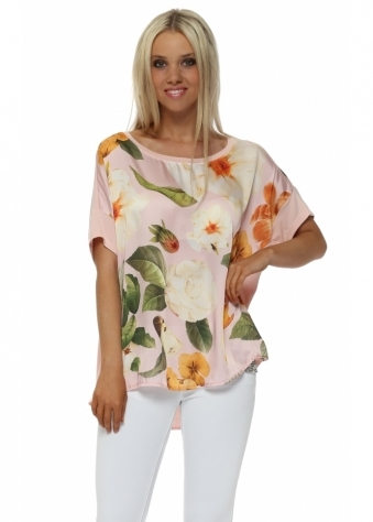 Baby Pink Floral Satin Front Oversized T-Shirt