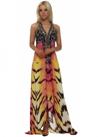 Exotic Safari Jewel Print Halter Neck Maxi Dress