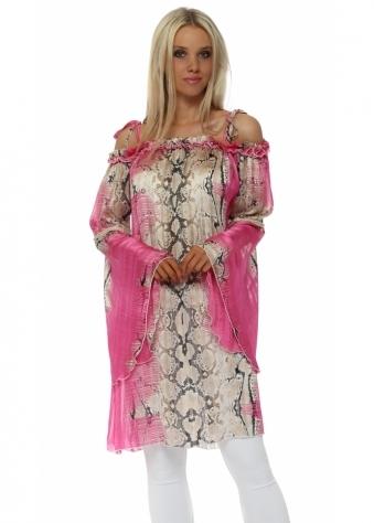 Fucshia Snake Print Bardot Bell Sleeve Tunic Top