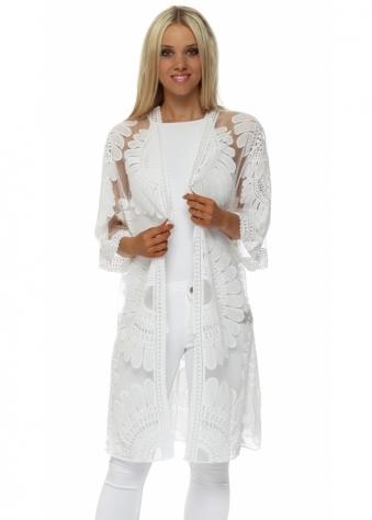 White Cotton Embroidered Kimono