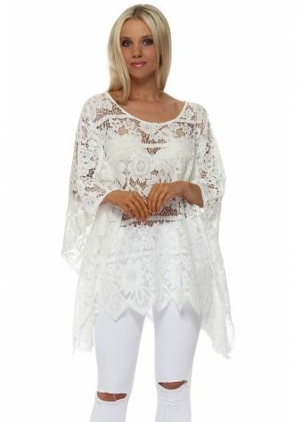 White Floral Sheer Crochet Kaftan