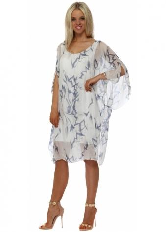 White Floral Print Silk Floaty Dress