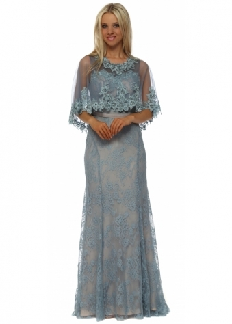 Petrol Blue Lace Maxi Dress With Lace Cape