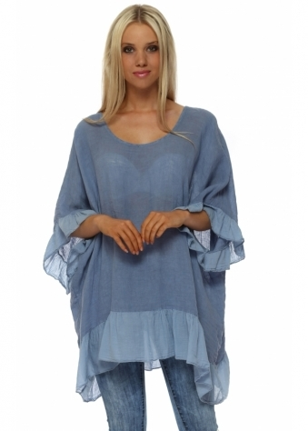 Blue Linen Frilly Oversized Top