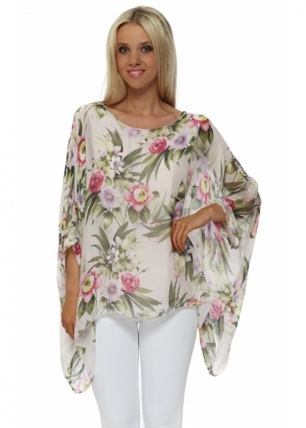 Pink Tropical Floral Print Silk Floaty Top
