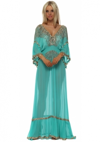 Jade Green Luxe Jewelled Maxi Kaftan Dress