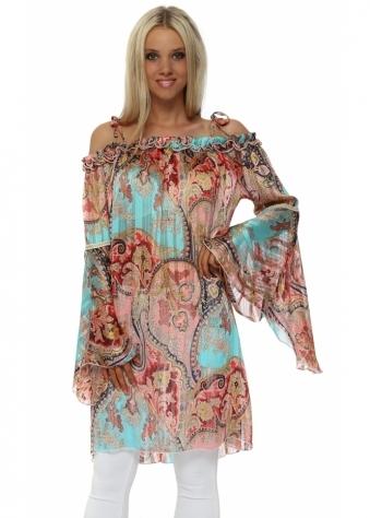 Aqua & Coral Paisley Print Bardot Bell Sleeve Tunic Top
