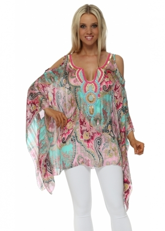 Green & Pink Paisley Embellished Cold Shoulder Kaftan Top