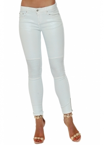 Mint Pearlescent Ribbed Knee Cropped Stretch Jeans