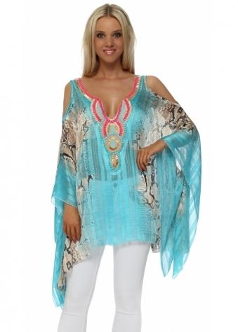 Turquoise Snake Print Embellished Cold Shoulder Kaftan Top