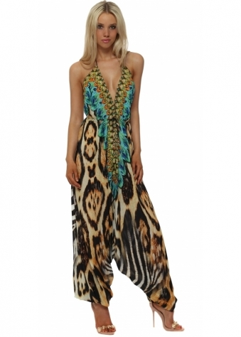 Exotic Turquoise Safari Print Halter Neck Jumpsuit