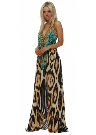 Exotic Turquoise Safari Print Halter Neck Maxi Dress