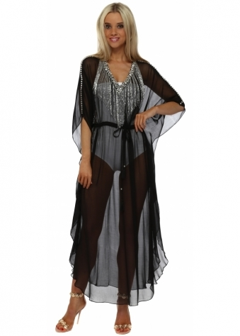 Black Chiffon Crystal Waterfall Maxi Kaftan