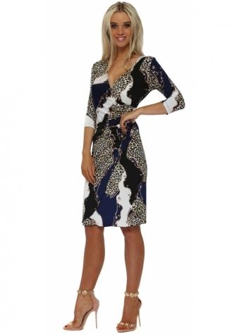 Royal Blue & Black Leopard Chain Print Wrap Dress