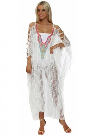 White Lace Ladder Sleeve Maxi Kaftan Dress