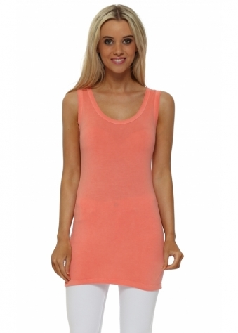 Plain Cut Edge Vest In Melon