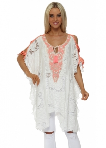 White Crochet Lace Sequinned Ladder Sleeve Top