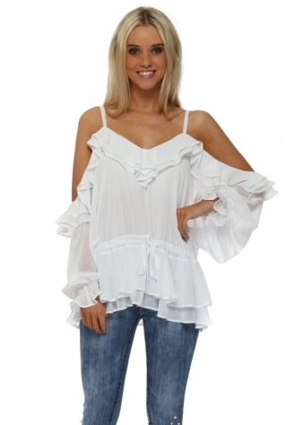 White Chiffon Frill Cold Shoulder Top