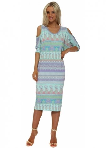 Martina Marrakesh Cold Shoulder Dress In Paradise Blue