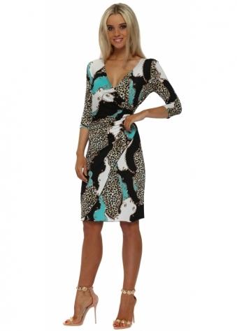 Aqua & Black Leopard Chain Print Wrap Dress
