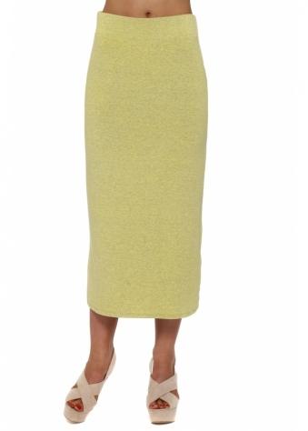 Mindy Canary Melange Jersey Midi Skirt