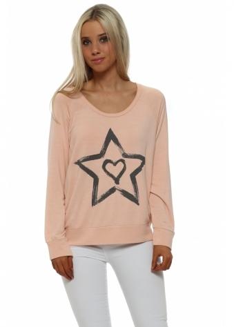 Raglan Zippy Starry Heart Sweatshirt In Seduction