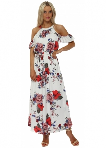 White Floral Cold Shoulder Maxi Dress