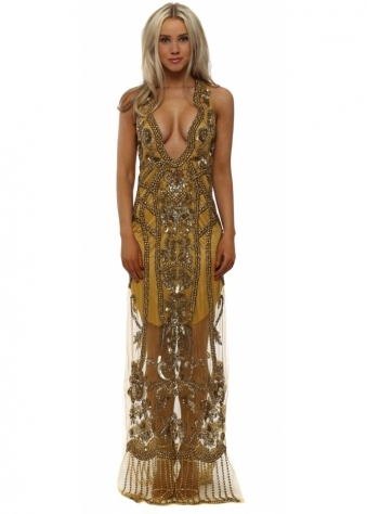 Gold Beaded Plunge Front Cut Out Maxi Dress