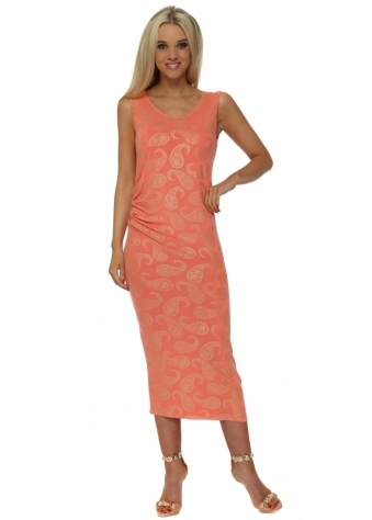 Paige Gold Paisley Print Pleated Midi Dress In Melon