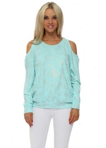 Perrie Paradise Blue Gold Paisley Cold Shoulder Sweater