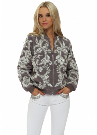 EXCLUSIVE Pearl & Sequin Embellished Suede Bomber Jacket