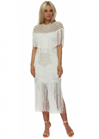 EXCLUSIVE White Tassel Dress With Pearl Beaded Cape