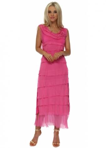 Fucshia Frayed Silk Layered Maxi Dress