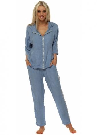 Blue Linen Sequinned Casual Trouser Suit