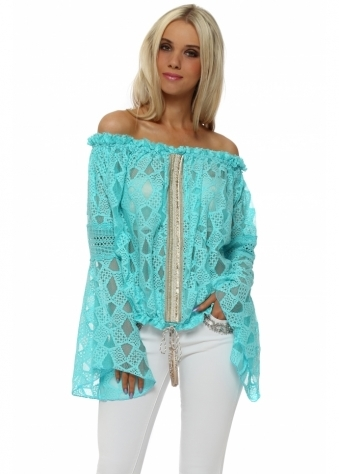 Turquoise Lace Embellished Bell Sleeve Top