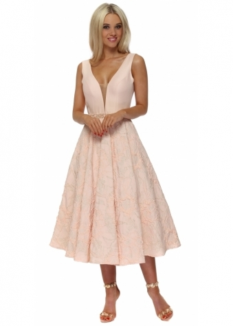 Peach & Gold Embellished Skater Dress