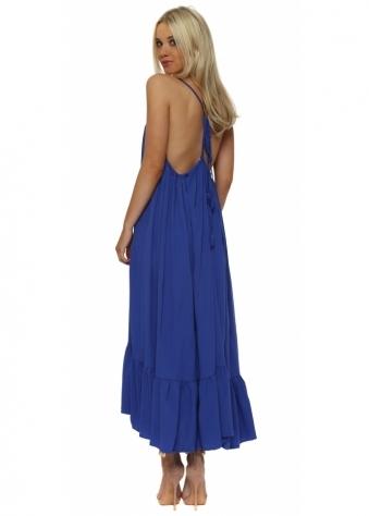 Cobalt Blue Tie Open Back Boho Frill Maxi Dress